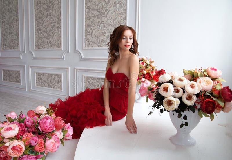 Kvinna för skönhetbrunettmodell i röd klänning för afton Härlig fash fotografering för bildbyråer