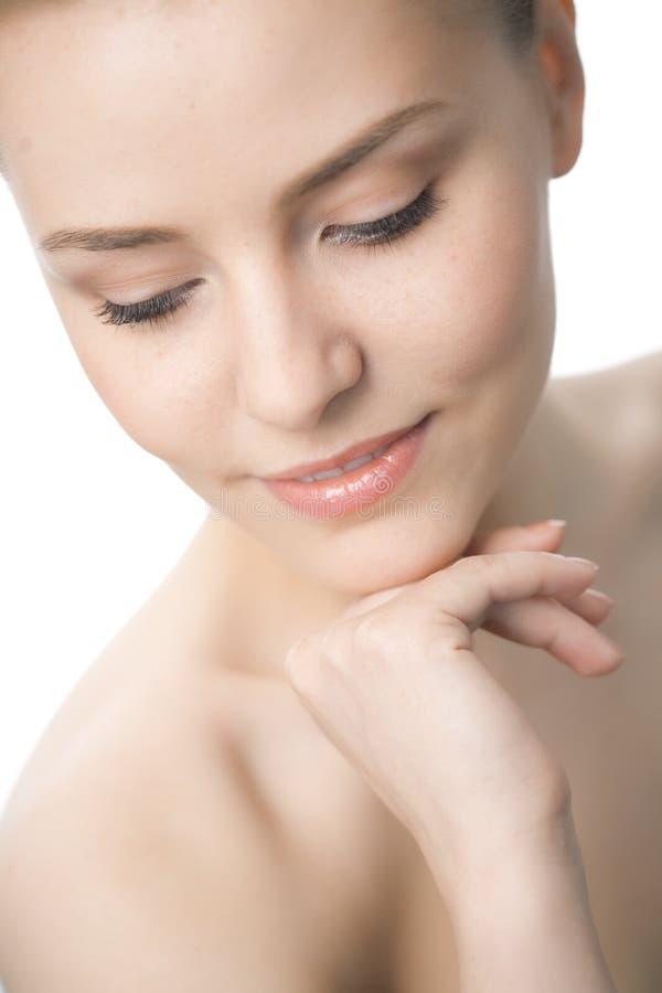 kvinna för skönhetcloseupframsida arkivfoton