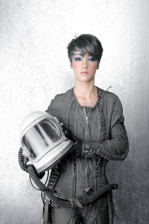kvinna för spaceship för silver för astronautmodehjälm arkivbild