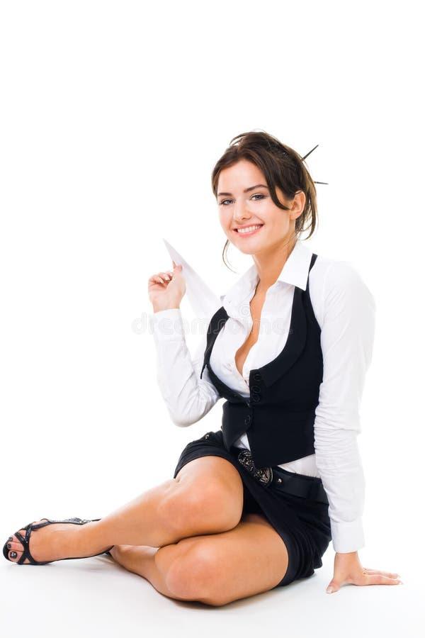 kvinna för spelrum för nivå för affärspapper arkivfoton