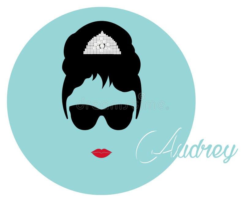 Kvinna för ståenderetrò, diva med pärlemorfärg smycken, minsta Audrey illustration royaltyfri illustrationer
