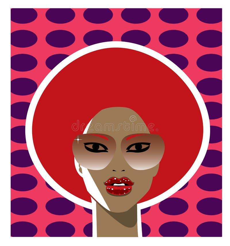 kvinna för stil för afro frisyr för 70-tal röd stock illustrationer