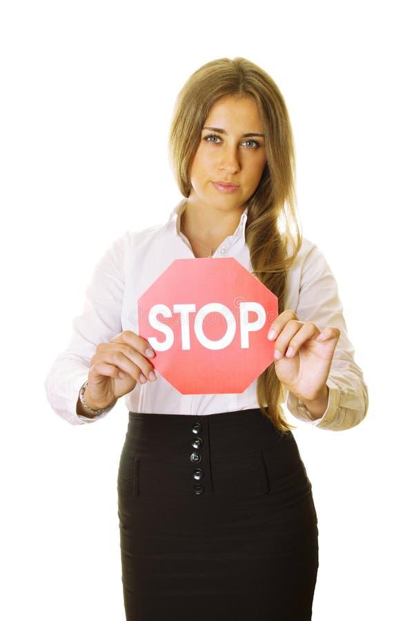 kvinna för stopp för affärsholdingtecken arkivbild