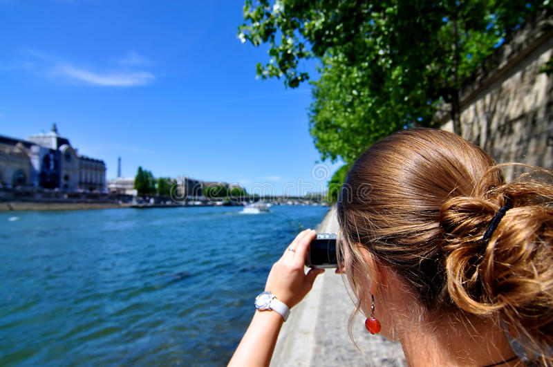 kvinna för ta för paris bild royaltyfri foto