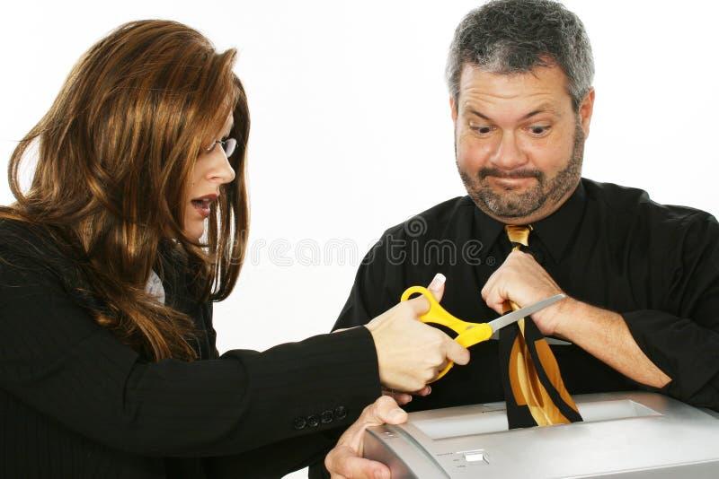kvinna för tie för cuttingman s royaltyfria bilder