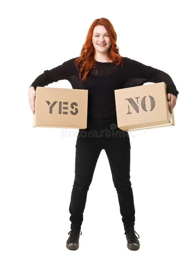 Kvinna för två alternativ arkivfoto