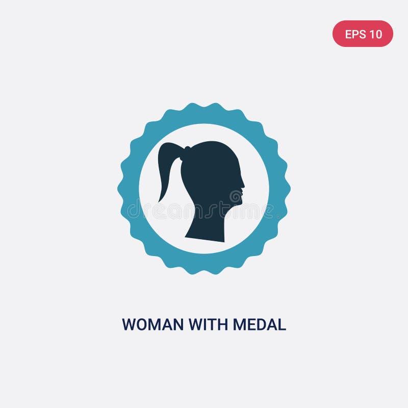 Kvinna för två färg med medaljvektorsymbolen från teckenbegrepp den isolerade blåa kvinnan med symbol för medaljvektortecken kan  royaltyfri illustrationer