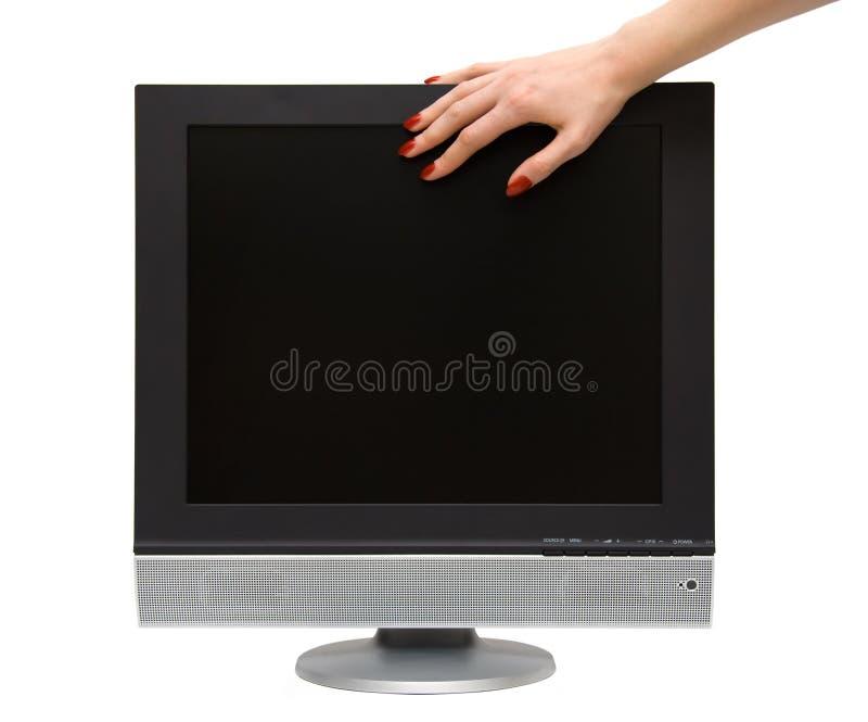 kvinna för tv för handlcd-skärm arkivfoto