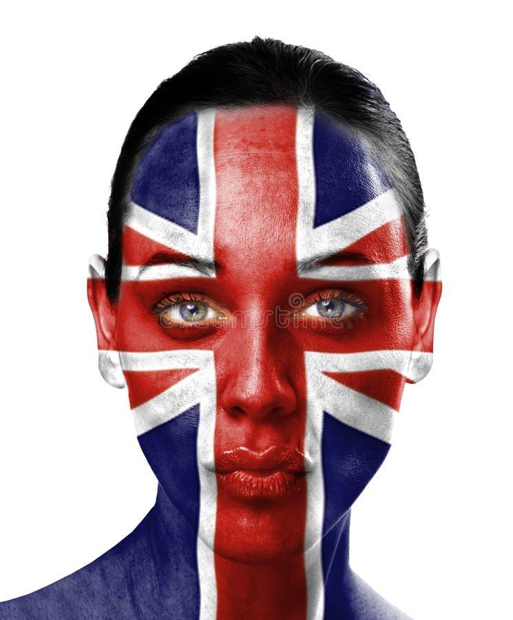 kvinna för uk för skönhetframsidaflagga royaltyfria foton