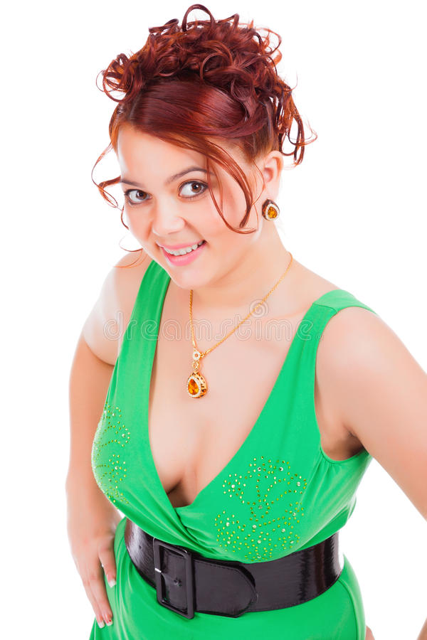 Kvinna för ung kvinna för Smiley i grön klänning royaltyfri foto