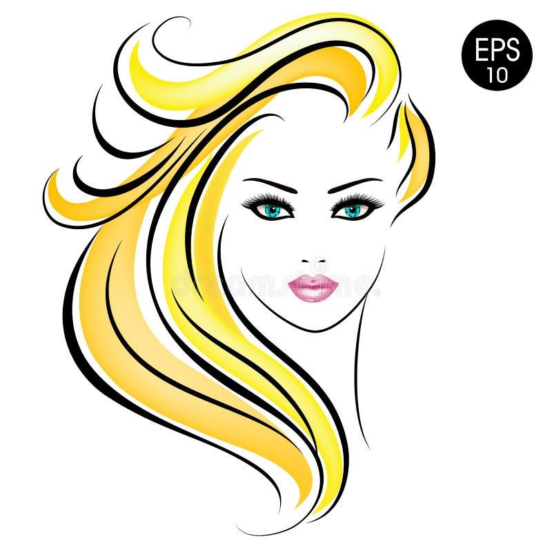 Kvinna för vektormaterielblondin Skönhetflickastående med blont hår och blåa ögon royaltyfri illustrationer
