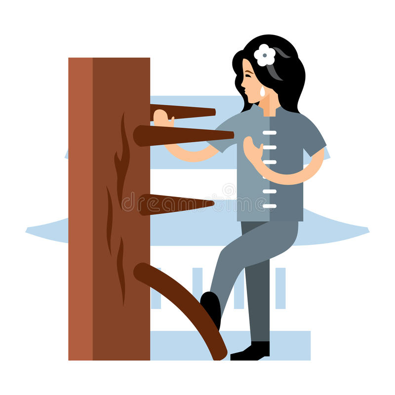 Kvinna för vektorWing Chun kung fu på en träattrapp Färgrik tecknad filmillustration för plan stil vektor illustrationer