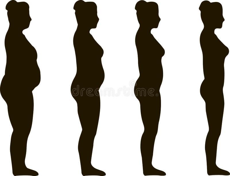Kvinna för viktförlust royaltyfri illustrationer