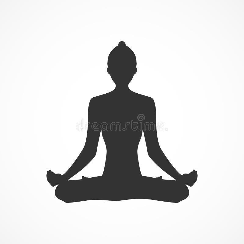 Kvinna för yoga för vektorbildkontur Denna är mappen av formatet EPS10 royaltyfri illustrationer