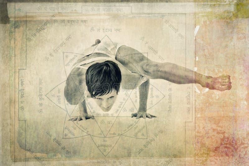 Kvinna för yogaYantra jämvikt arkivbild