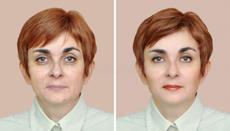 Kvinna före och efter som tar bort ögonpåsar och att applicera smink och att utforma för hår arkivfoton