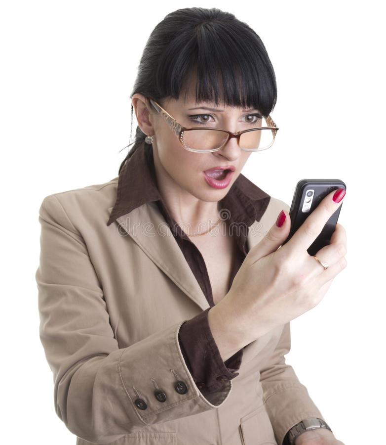 kvinna för telefon för affärscell frustrerad fotografering för bildbyråer