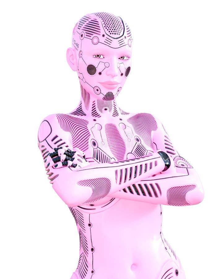 Kvinna f?r dansgymnastrobot Rosa droid f?r metall royaltyfri illustrationer