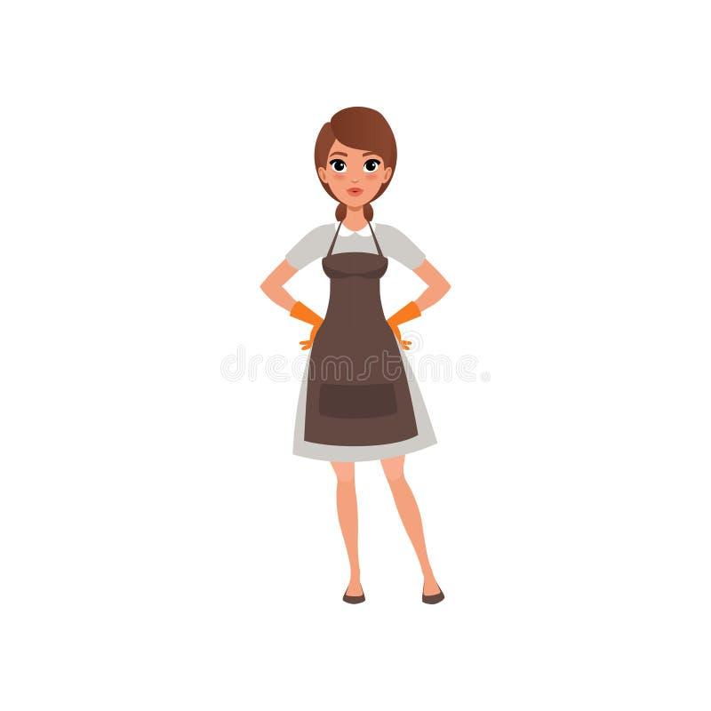 Kvinna från lokalvårdhembiträdeservice Nätt brunettflickaanseende med akimbo armar Kvinnligt tecken för tecknad film i klänning royaltyfri illustrationer