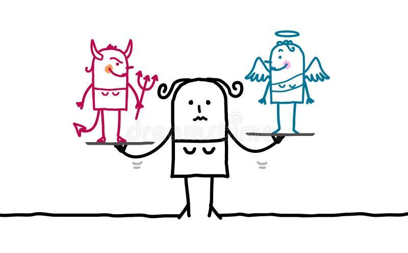 Kvinna & frestelse stock illustrationer