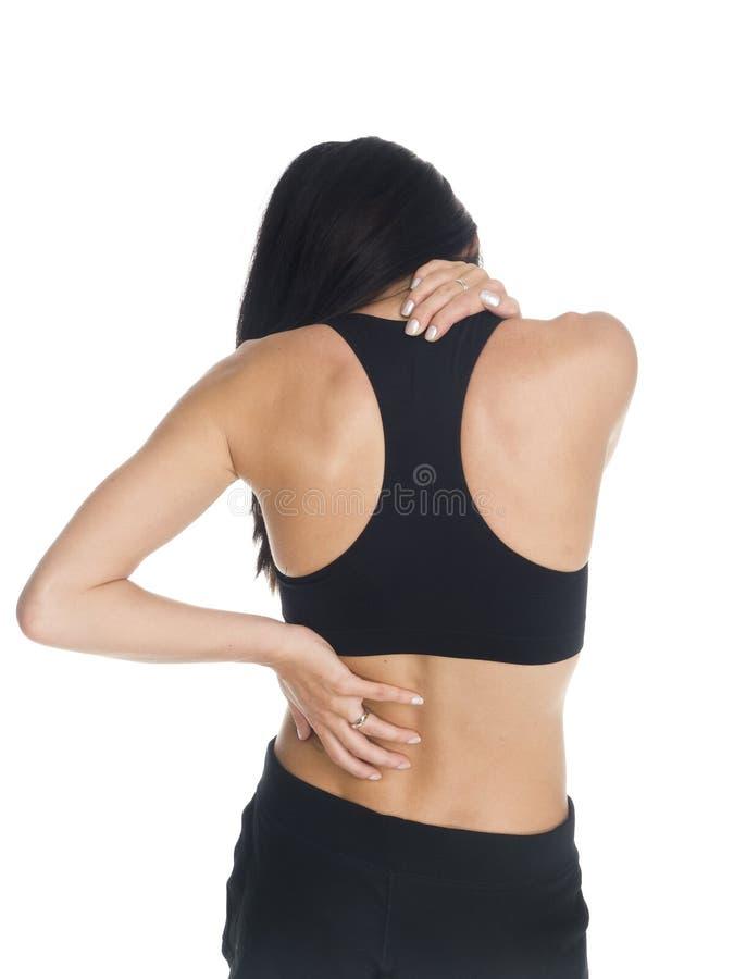 Kvinna - halsen och backen smärtar royaltyfri fotografi