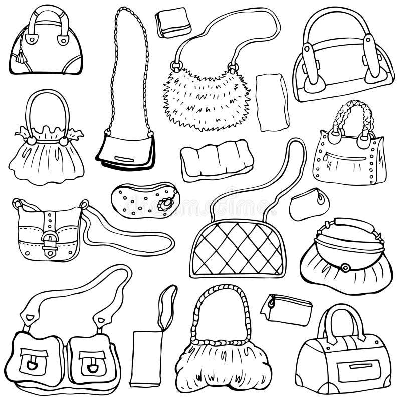 Kvinna handväskor. Räcka utdragen vektoruppsättning 1. royaltyfri illustrationer