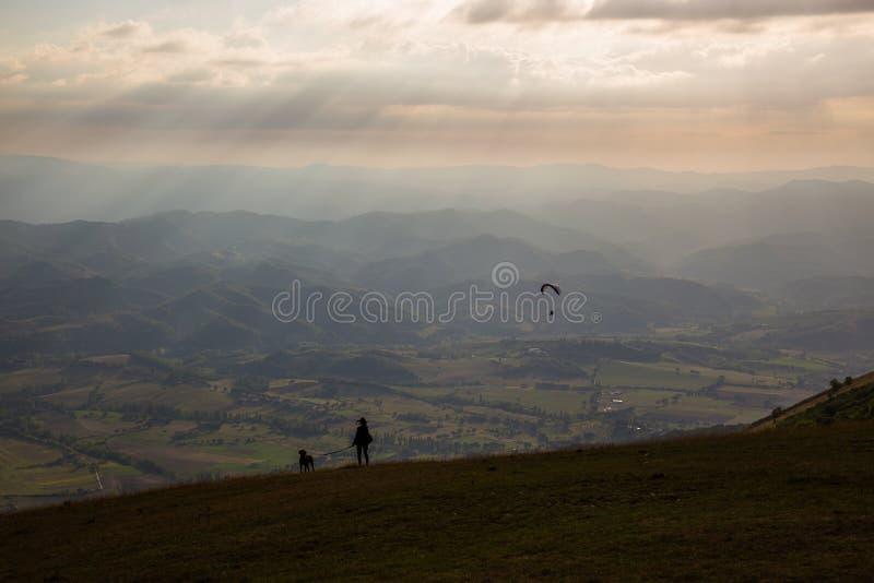 Kvinna, hund och paraglider royaltyfria foton