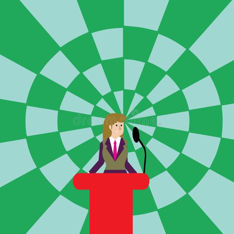Kvinna i affärsdräkten som står bak det färgrika podiumtalarstolfotoet och talar på den trådlösa mikrofonen Affärskvinna stock illustrationer