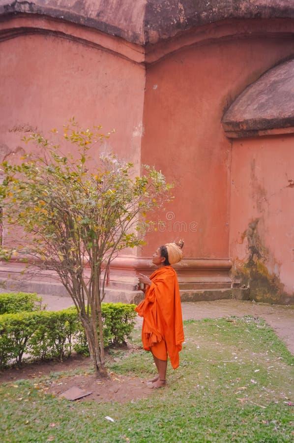 Kvinna i apelsin i Assam arkivfoton
