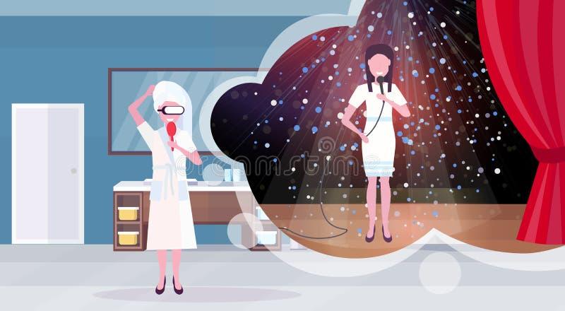 Kvinna i badrock med hårkammen som bär den digitala sångaren för exponeringsglasvirtuell verklighetflicka med mikrofonen som utfö stock illustrationer