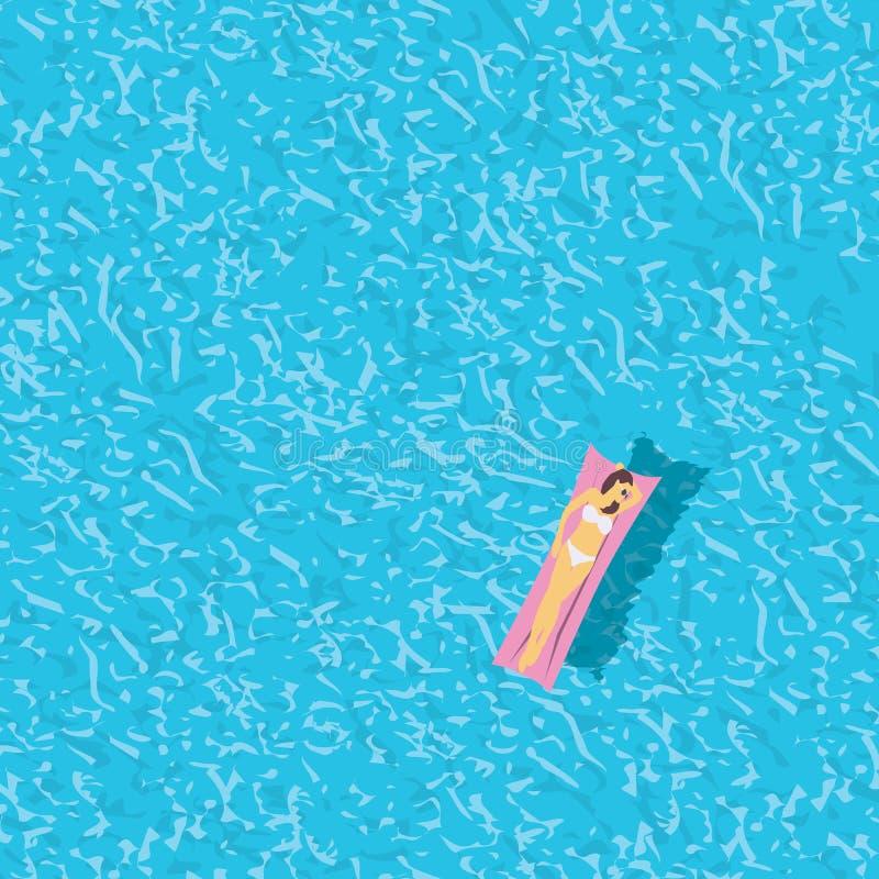 Kvinna i bikinin, bästa sikt för simbassäng Blå mall för texturbakgrunds-, ferie- eller semesteraffisch med kopieringsutrymme stock illustrationer