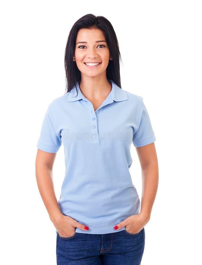 Kvinna i blå poloskjorta royaltyfri bild