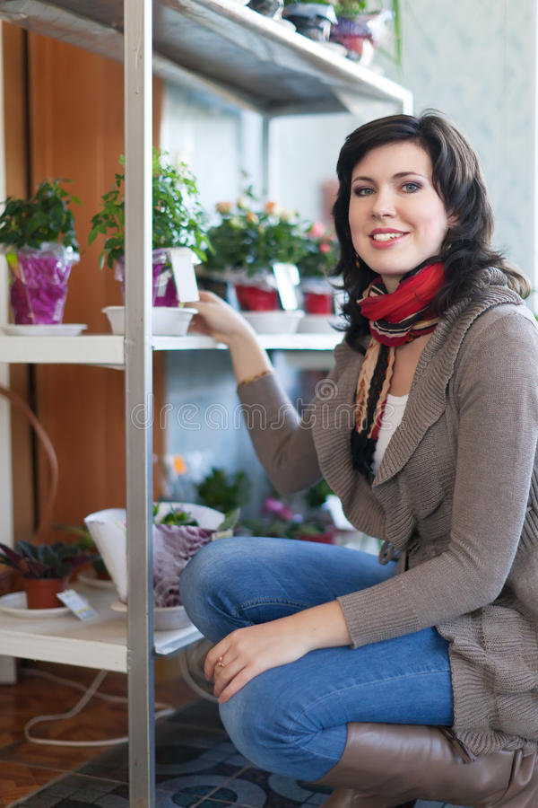 Kvinna i blomsterhandel royaltyfria foton