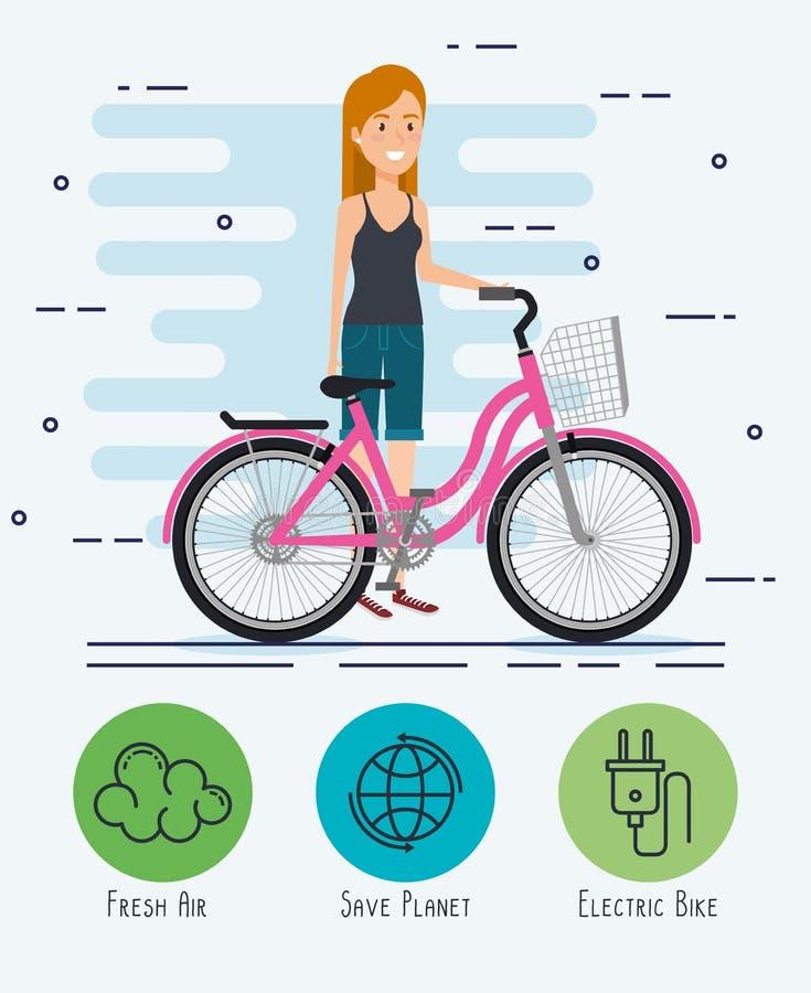 Kvinna i cykel med ecovänskapsmatchsymboler stock illustrationer