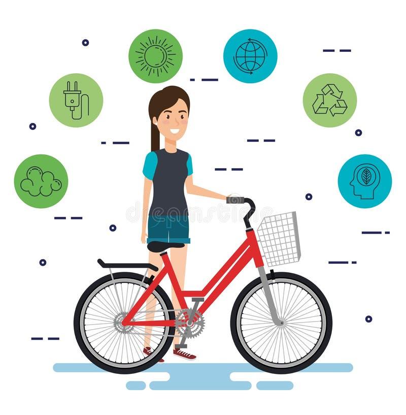 Kvinna i cykel med ecovänskapsmatchsymboler royaltyfri illustrationer