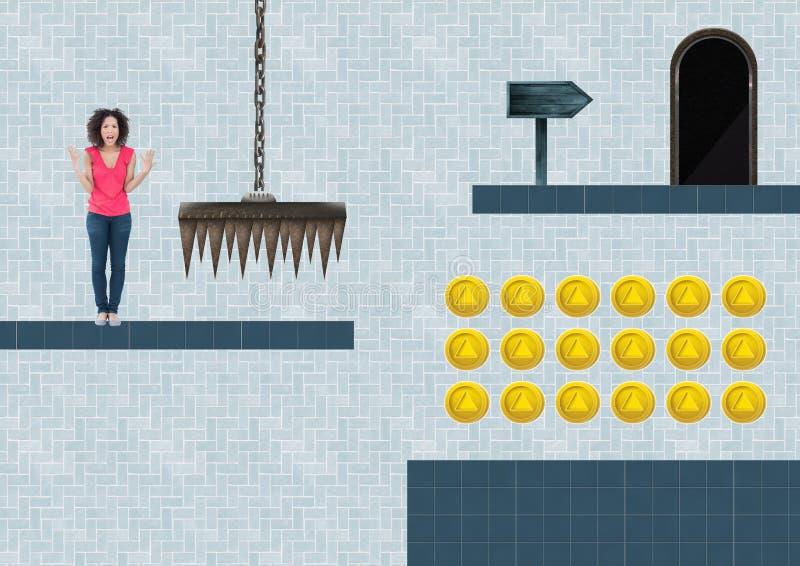 Kvinna i dataspelnivå med mynt och fälla royaltyfri illustrationer