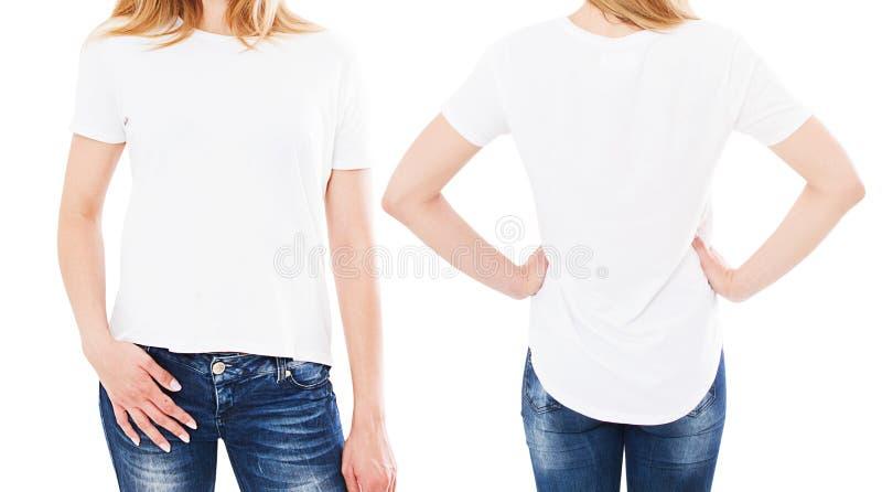 Kvinna i den isolerade vita t-skjortan - flicka i stilfullt t-skjortaslut upp uppsättning royaltyfri bild
