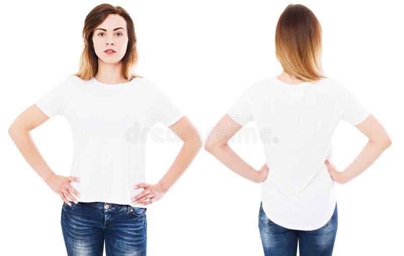 Kvinna i den isolerade vita t-skjortan - flicka i stilfullt t-skjortaslut upp uppsättning arkivfoto