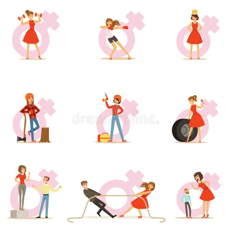 Kvinna i den röda klänningen som tar på traditionella manliga roller och utbyter ställen med mannen, serie av feminismillustratio stock illustrationer