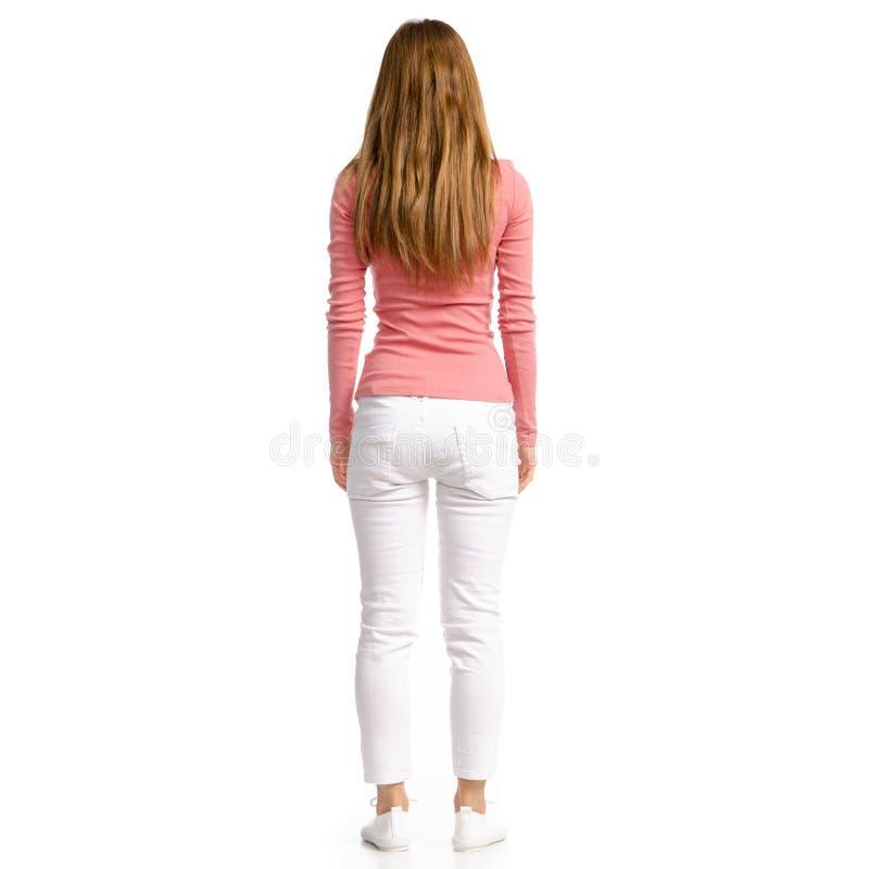 Kvinna i den vita jeans och skjortan royaltyfri foto