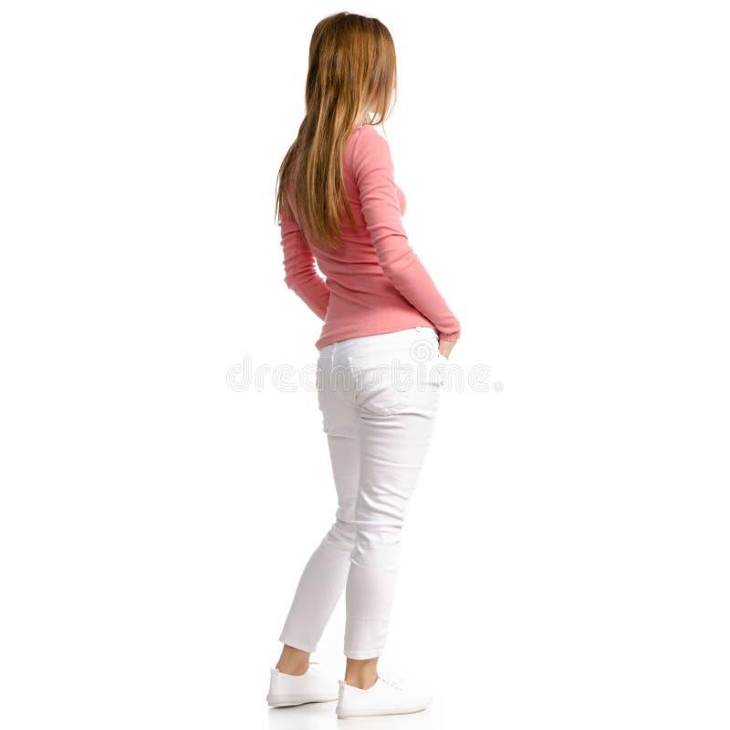 Kvinna i den vita jeans och skjortan arkivbild