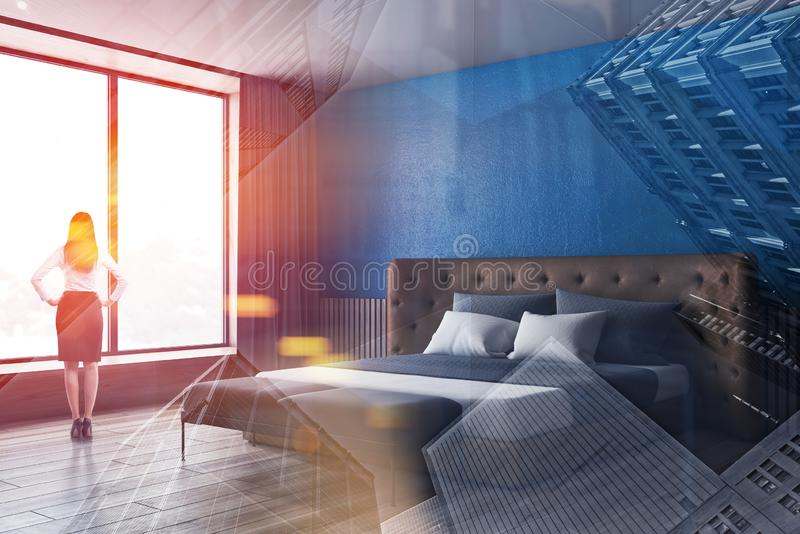 Kvinna i dräkt i blått sovrumhörn arkivfoton