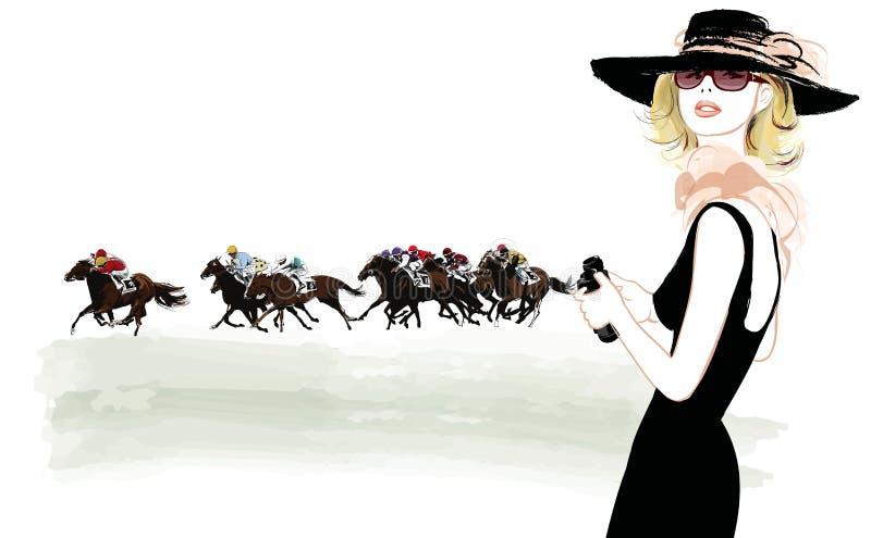 Kvinna i en hästracerbana vektor illustrationer