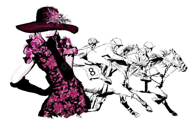 Kvinna i en hästracerbana royaltyfri illustrationer
