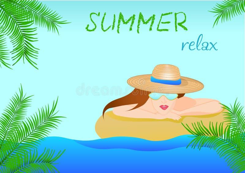 Kvinna i en hatt och solglasögon som kopplar av på en strand i sommar Id?rikt akvarium med lilla goldfis royaltyfri illustrationer
