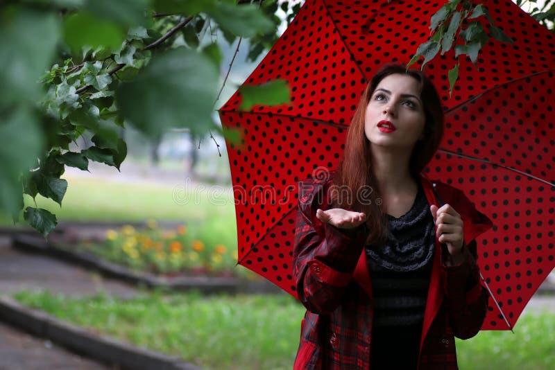 Kvinna i en regnrock och ett paraply arkivfoto