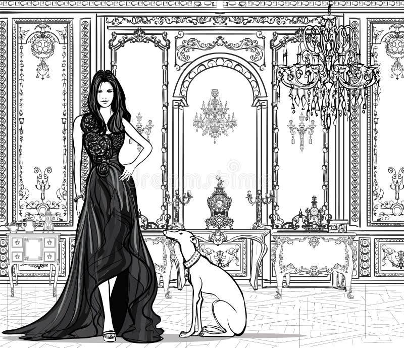 Kvinna i en slott med en vinthund stock illustrationer