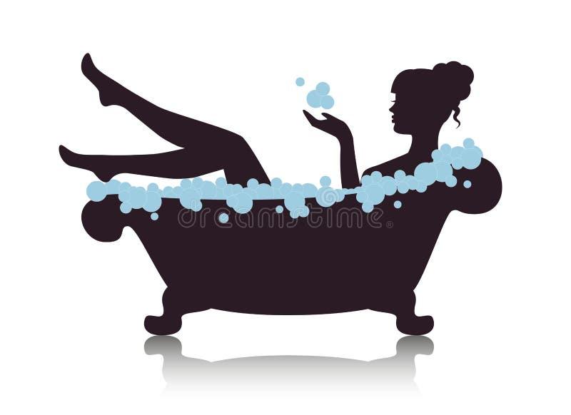 Kvinna i ett bad med skum stock illustrationer