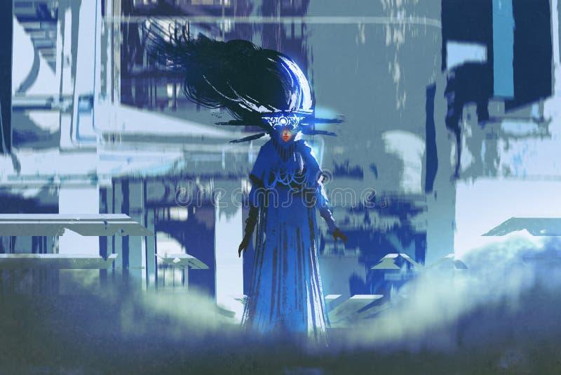 Kvinna i ett blått klänninganseende i futuristisk stad stock illustrationer