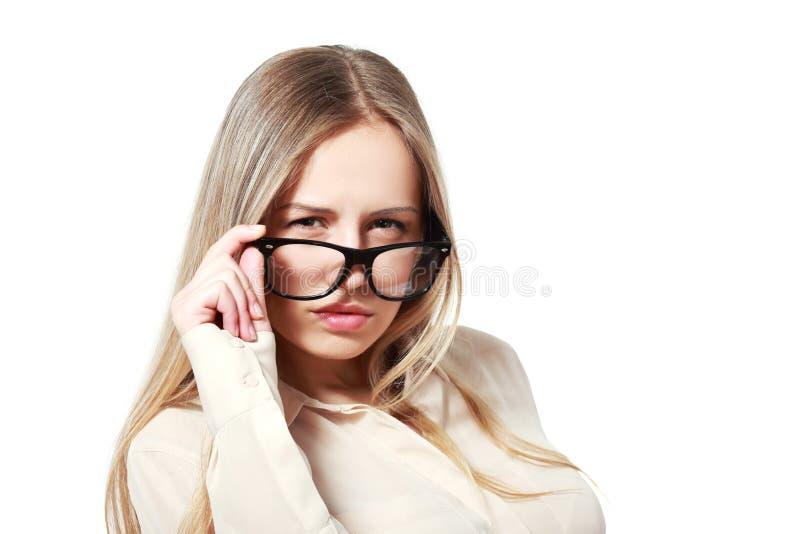 Kvinna i exponeringsglas arkivfoton